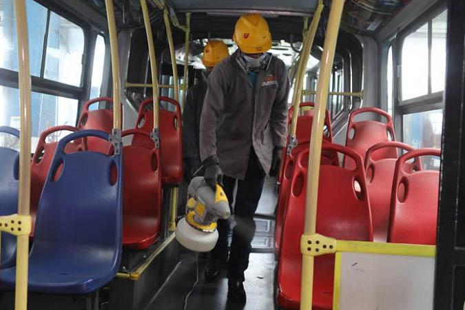 Desinfección de unidades de transporte público