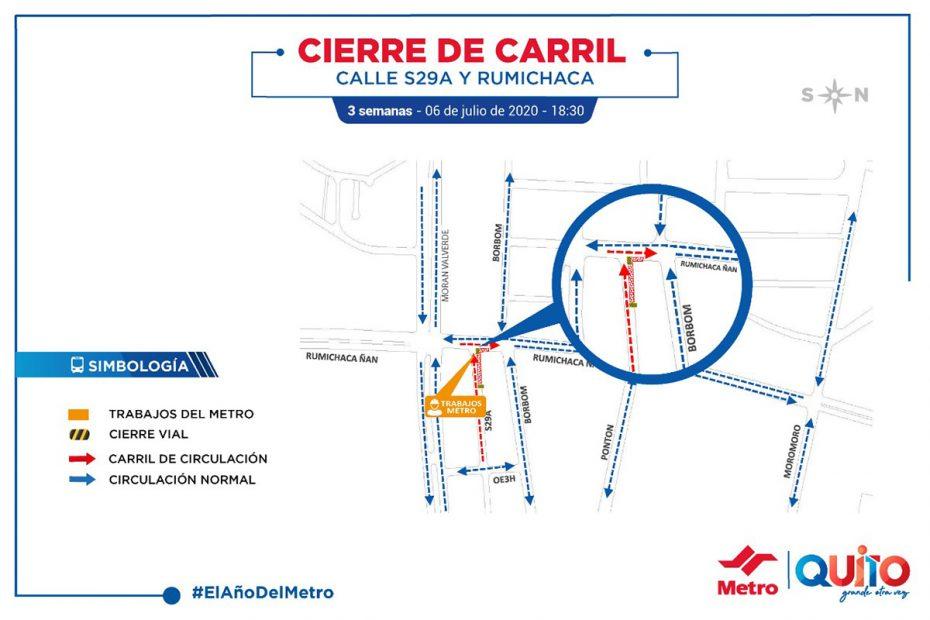 Desde el 6 de julio se cerró temporalmente el carril sur – norte de la avenida Rumichaca en el tramo entre la Morán Valverde y Borbón.