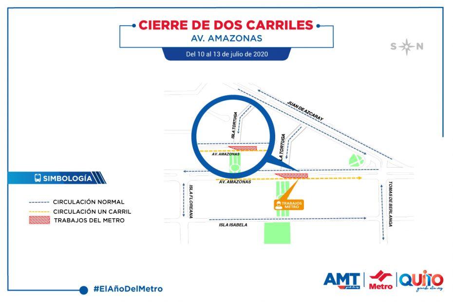 Desde la tarde del 10 de julio se cerraron temporalmente dos de los tres carriles sur – norte de la avenida Amazonas, en el tramo entre la calle Isla Tortuga y Tomás de Berlanga.