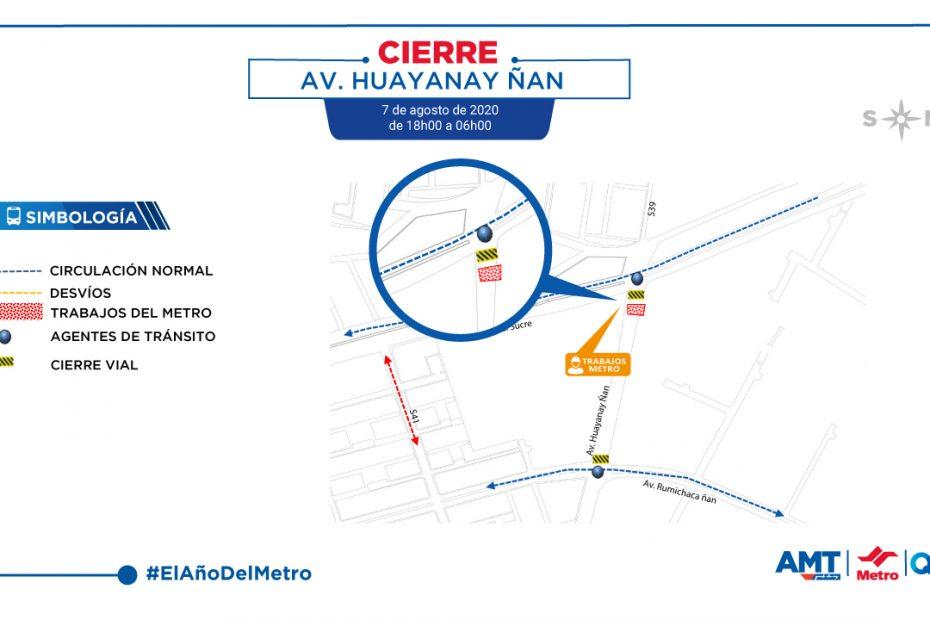 El viernes 7 de agosto, por 12 horas se cerrará el carril sentido oriente - occidente de la avenida Huayanay Ñan en la intersección con la avenida Mariscal.