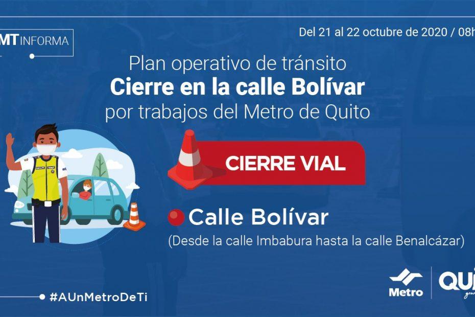 Los días 21 y 22 de octubre se cerrará temporalmente el tránsito vehicular en la calle Bolívar, entre Imbabura y Benalcázar.