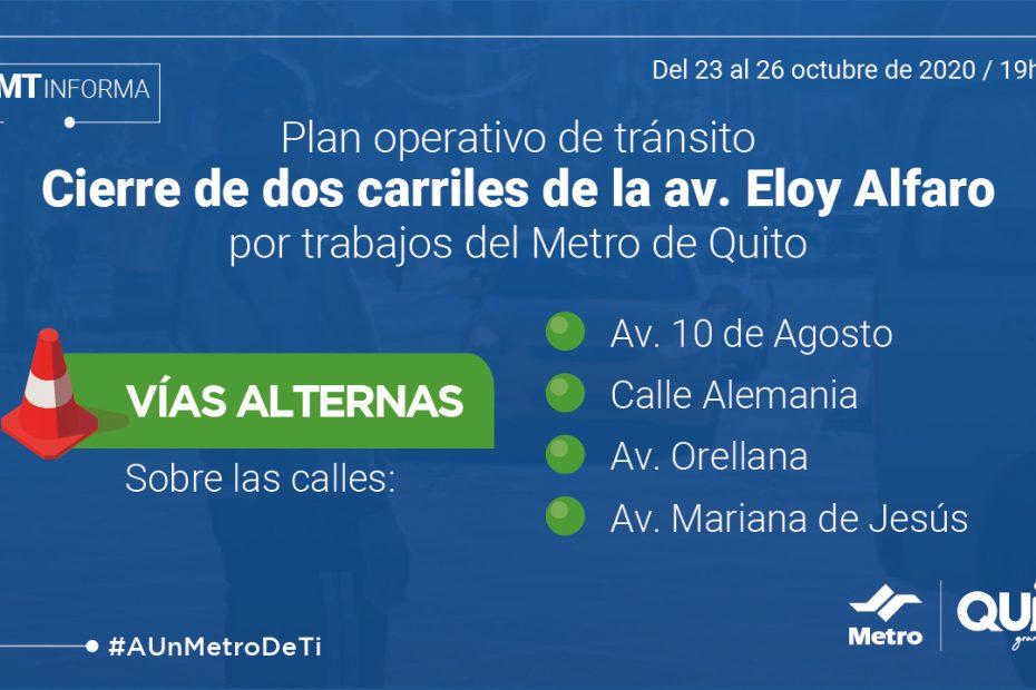 Desde la noche del viernes 23 a la madrugada del 26 de octubre se cerrarán temporalmente dos carriles de la av. Eloy Alfaro, entre Hungría y avenida Amazonas.