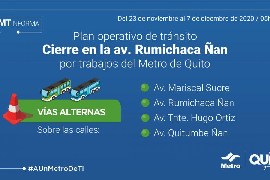 Desde el 23 de noviembre se cerrará temporalmente el tránsito vehicular en la avenida Rumichaca Ñan, en el tramo entre la avenida Morán Valverde y calle Borbón.
