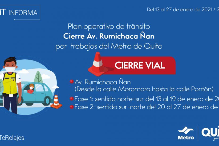 Desde el 13 de enero se cerrará temporalmente el tránsito vehicular en un tramo de la avenida Rumichaca Ñan, entre las calles Pontón y Moro Moro.