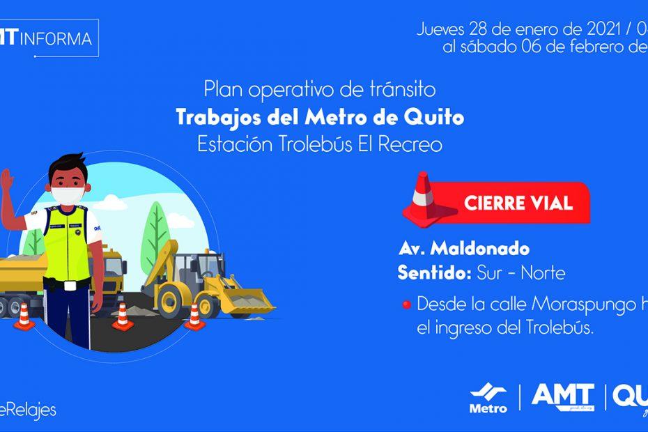 Desde el jueves 28 de enero se cerrarán temporalmente los carriles sentido sur – norte de la avenida Maldonado, a la altura de la estación El Recreo.