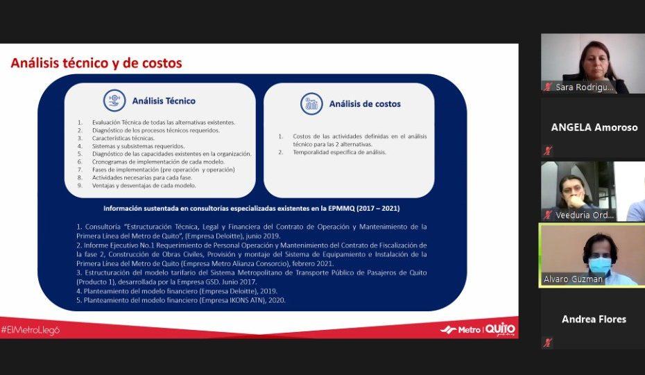 El 20 de mayo finalizaron las mesas de trabajo dispuestas por el Directorio del Metro de Quito para ratificar o rectificar el Modelo de Operación.